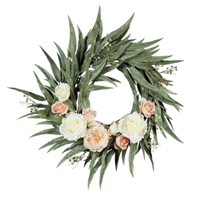 25'' Pink and White Roses and Peony Wreath