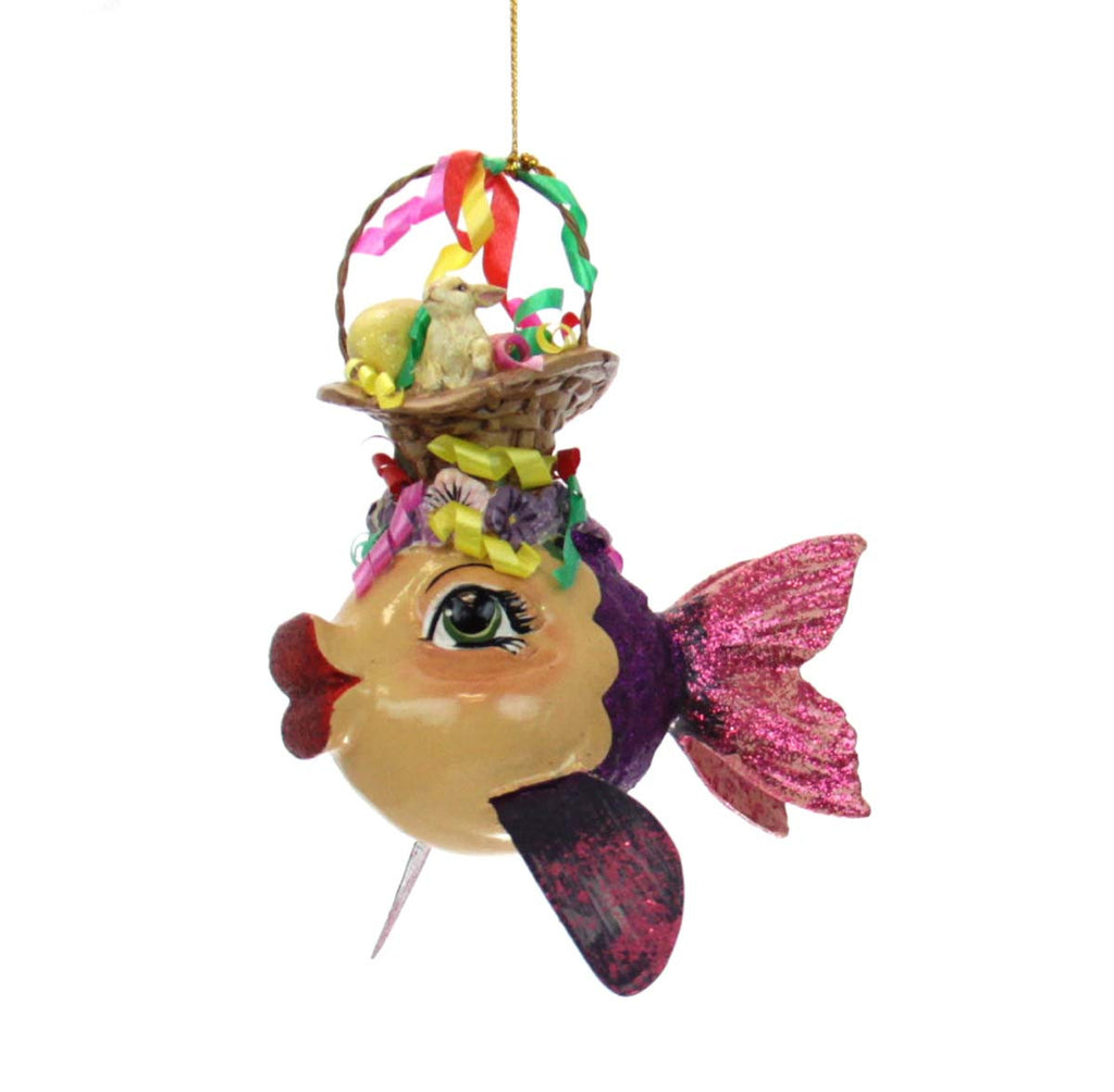 Easter Kissing Fish Ornament -  Pink