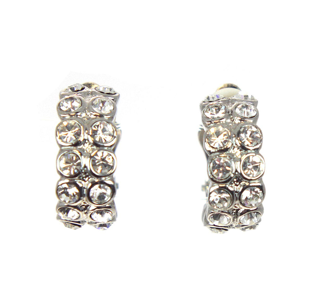 Pave Crystals Clip Earrings