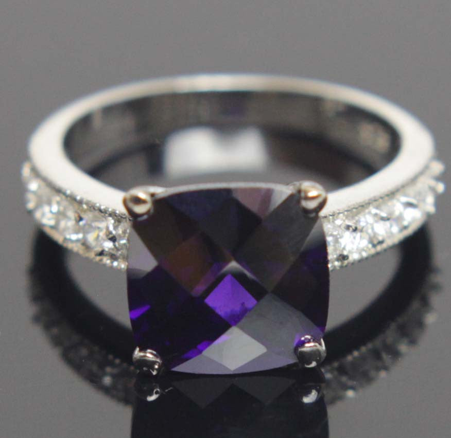 Sterling Silver Amethyst CZ Ring Size 7