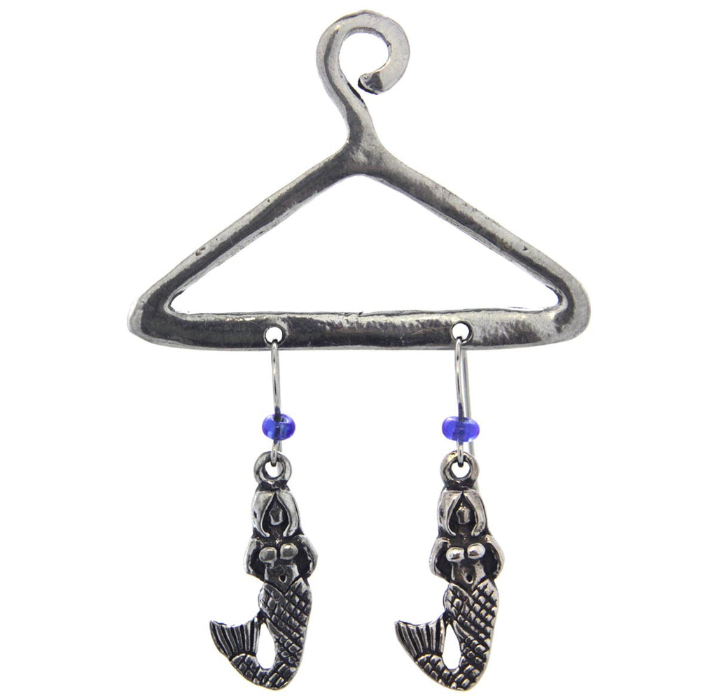 Mermaid Pewter Earrings on a hanger, Blue