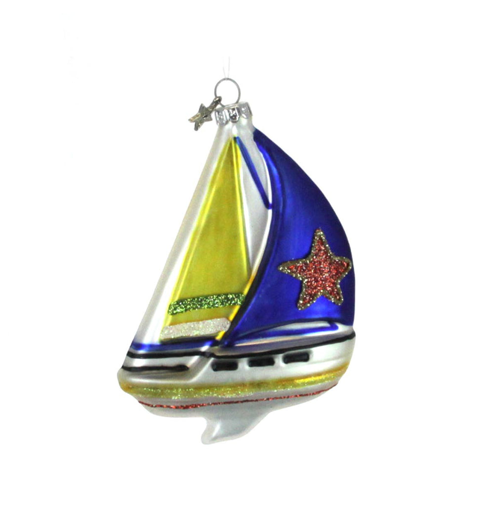 Sailboat Ornament Yellow & Indigo