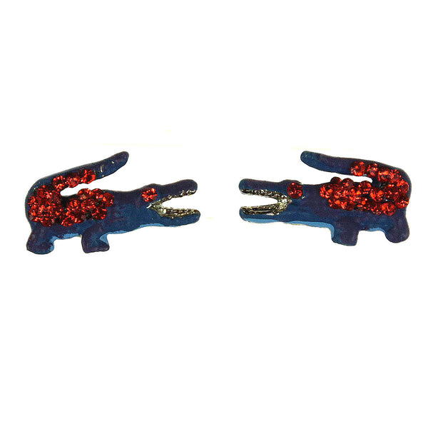 Alligator Earrings Blue