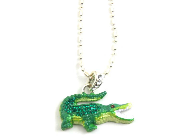 Alligator Necklace Lime Green