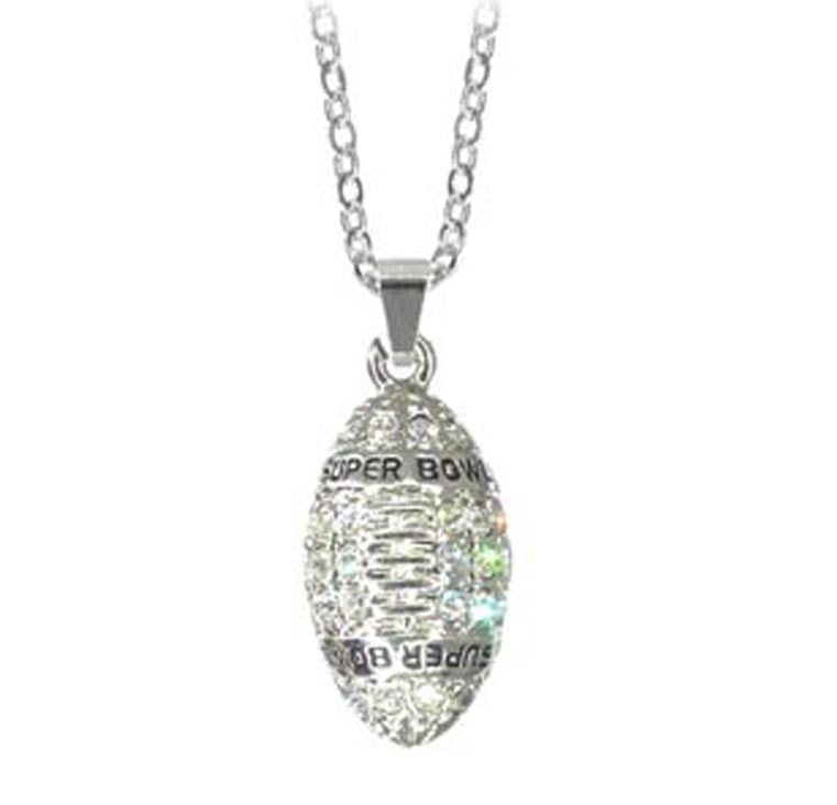 Football Super Bowl Necklace Silver