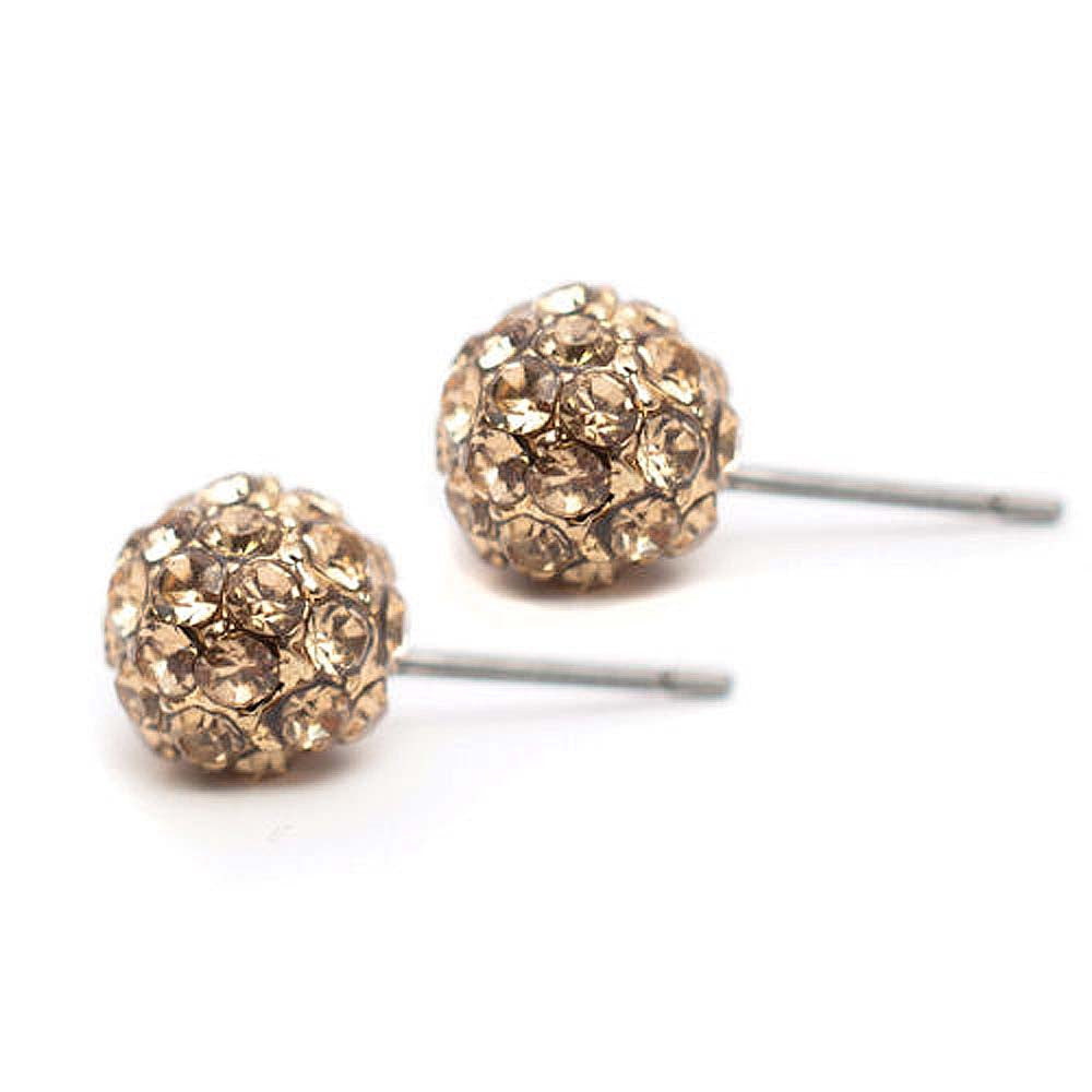 Pave Stud Earrings Gold Topaz