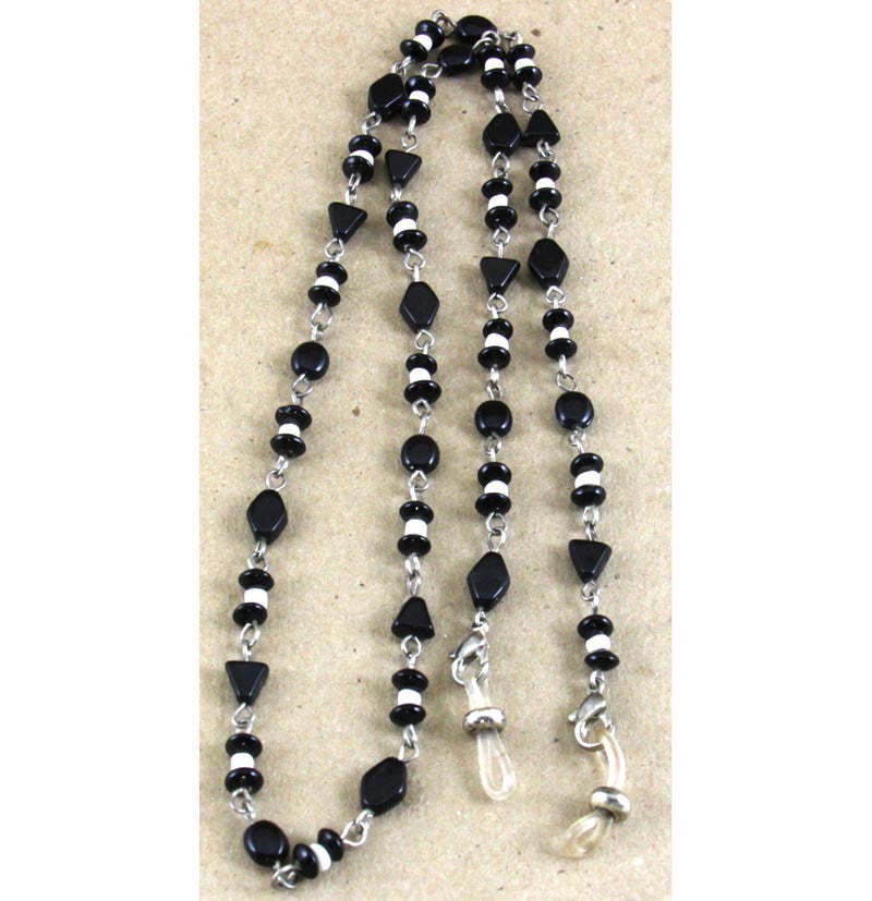 Glass Bead Eyeglass Holder Black/White