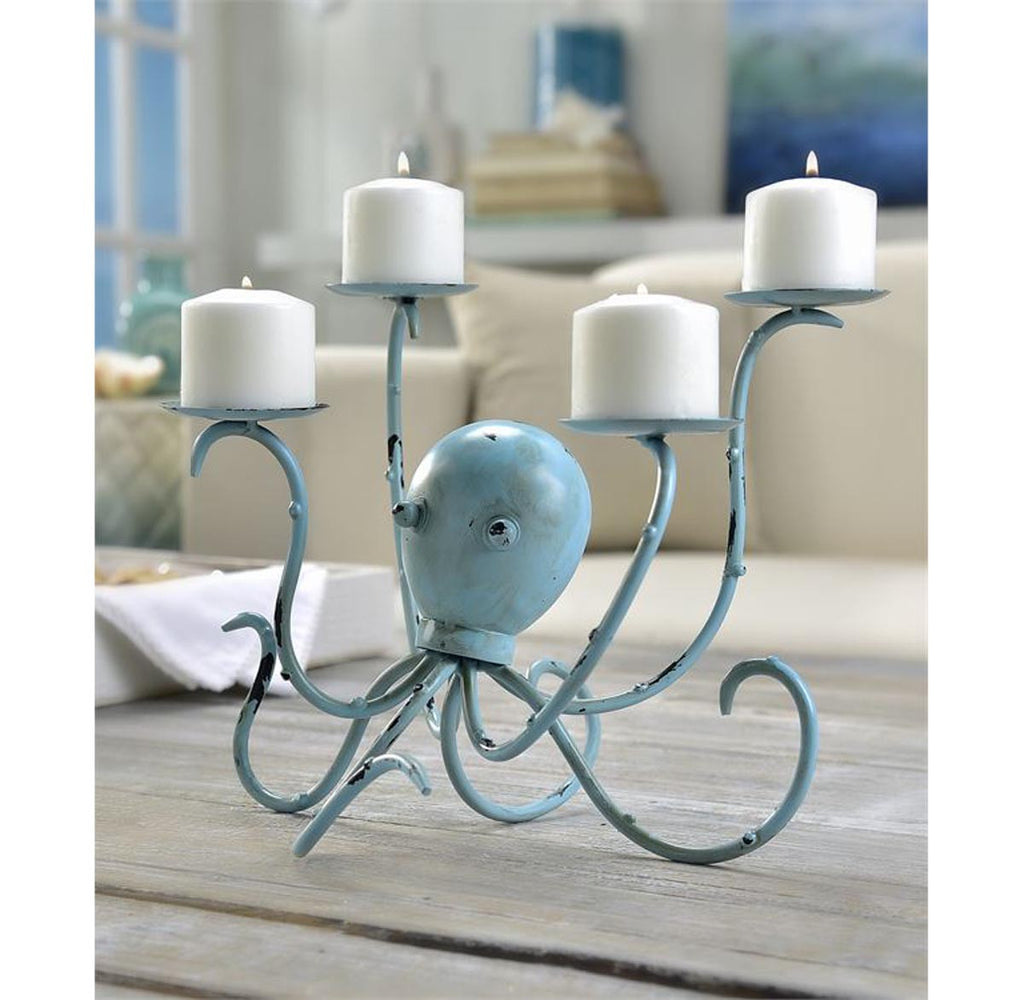Blue Octopus Iron Candelabra