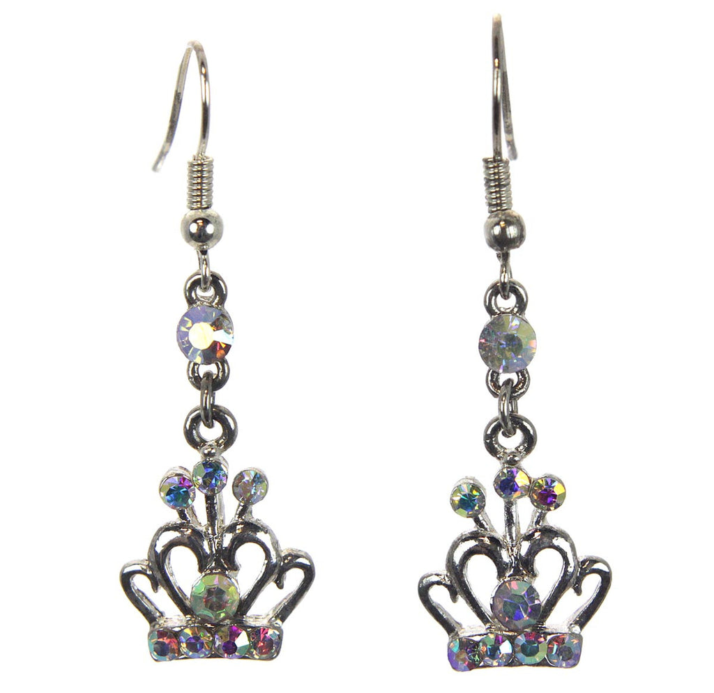 Crown Earrings with  Aurora Borealis Crystals