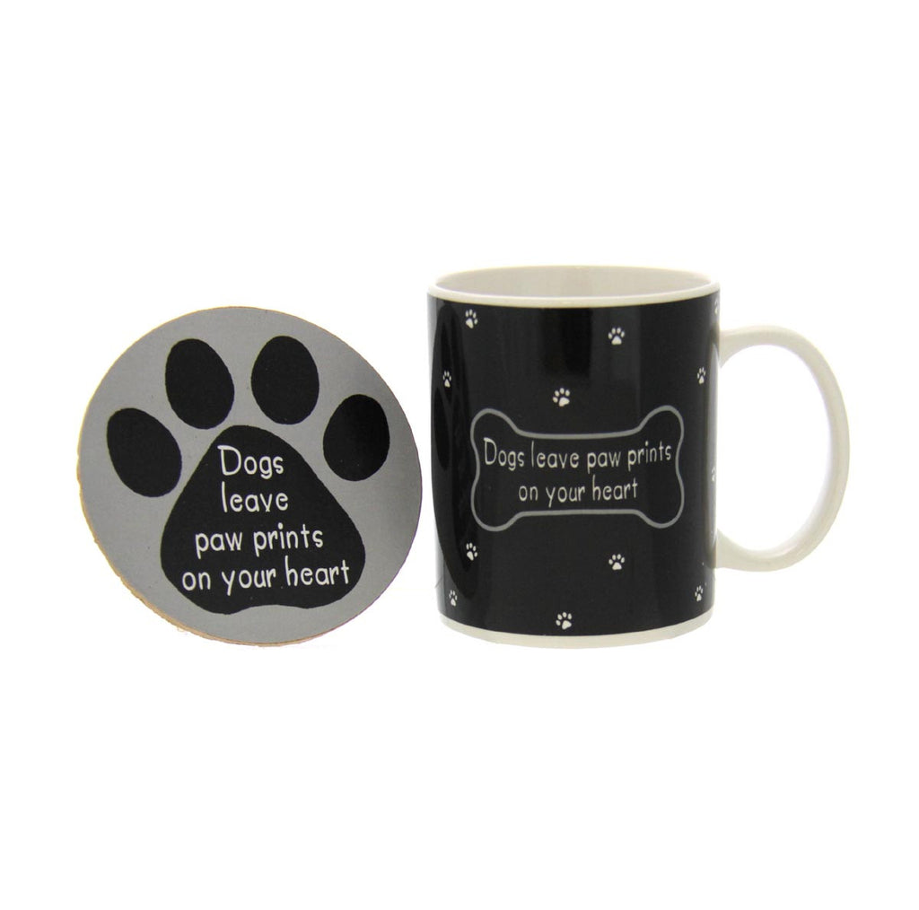 Dog Lovers Mug & Coaster - Paw Prints