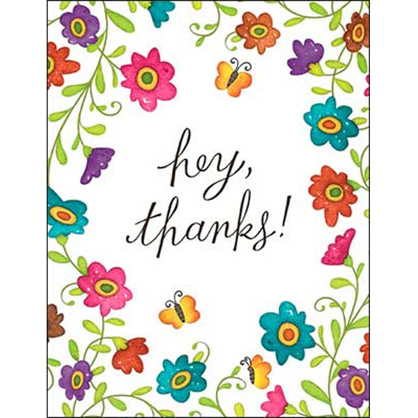 Thank You Note Card: hey, thanks!