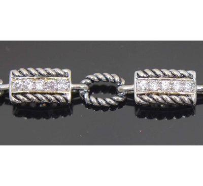 Sterling Silver Rope Chain with Zirconia Bracelet 7.5