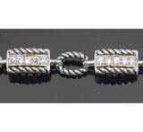 Sterling Silver Rope Chain with Zirconia Bracelet 7.5""
