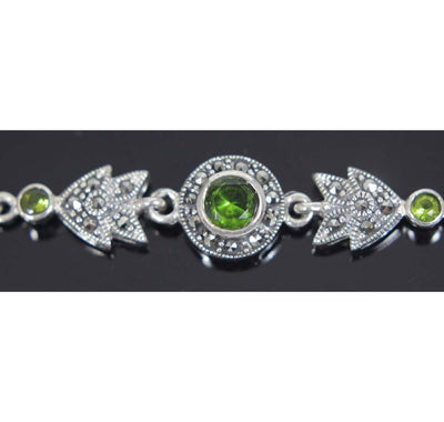 Sterling Silver Marcasite Tennis Bracelet Round Peridot