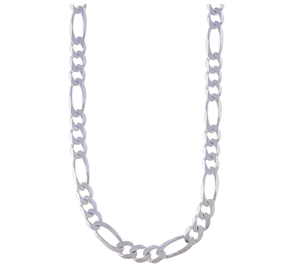 "Sterling Silver 24"" Italian Figaro Chain (9mm)"