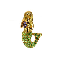 Mermaid Pin Gold Green
