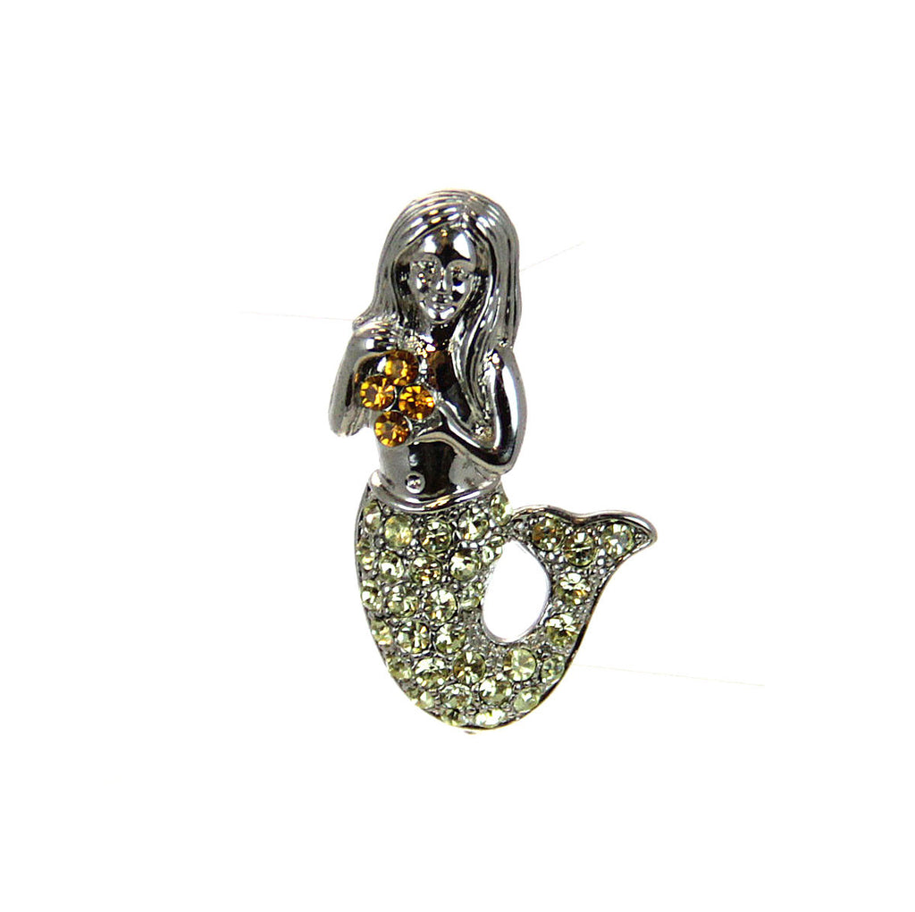 Mermaid Pin Silver, Citrine Crystals