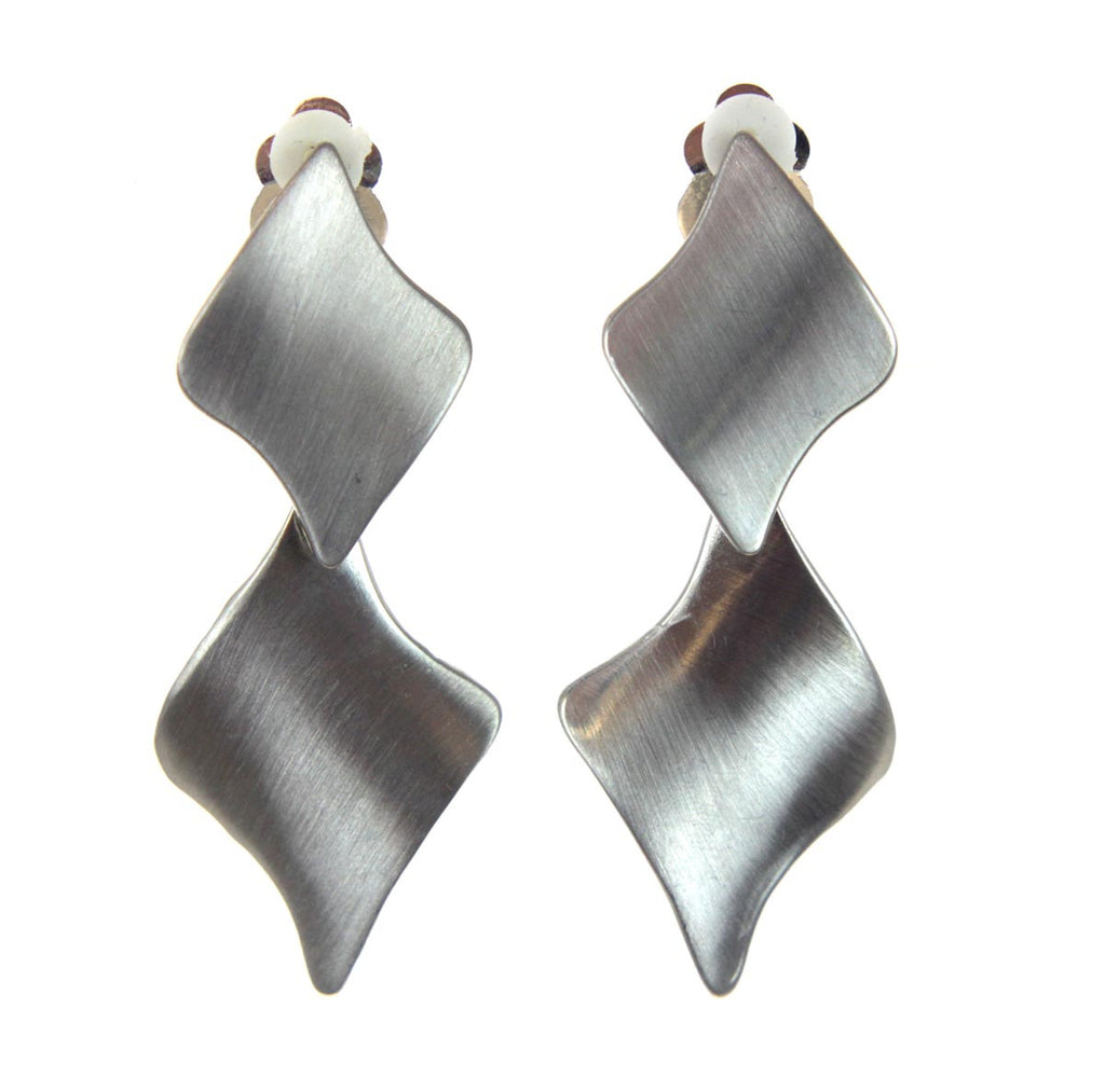 Brushed Silver Clip Earrings