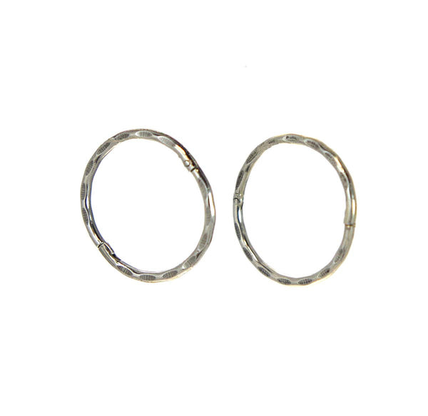 Hinged Hoop Earrings 14mm  Silver