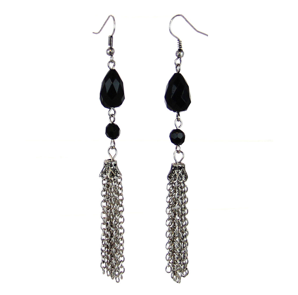 Beaded Tassel Drop Earrings-Black