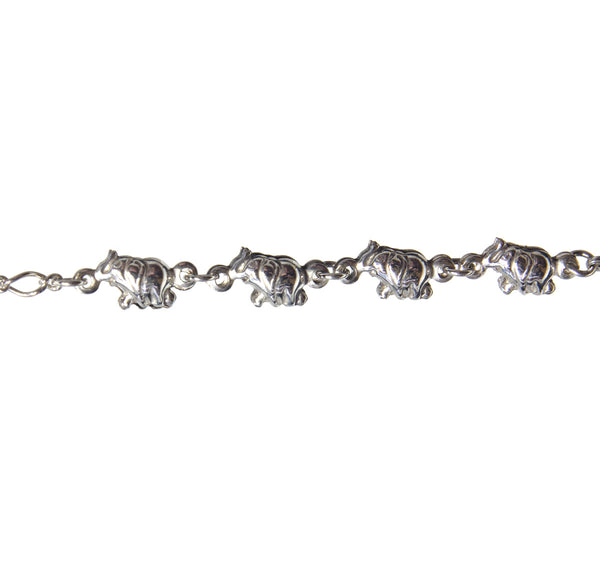 Sterling Silver Four Elephants Anklet 9""