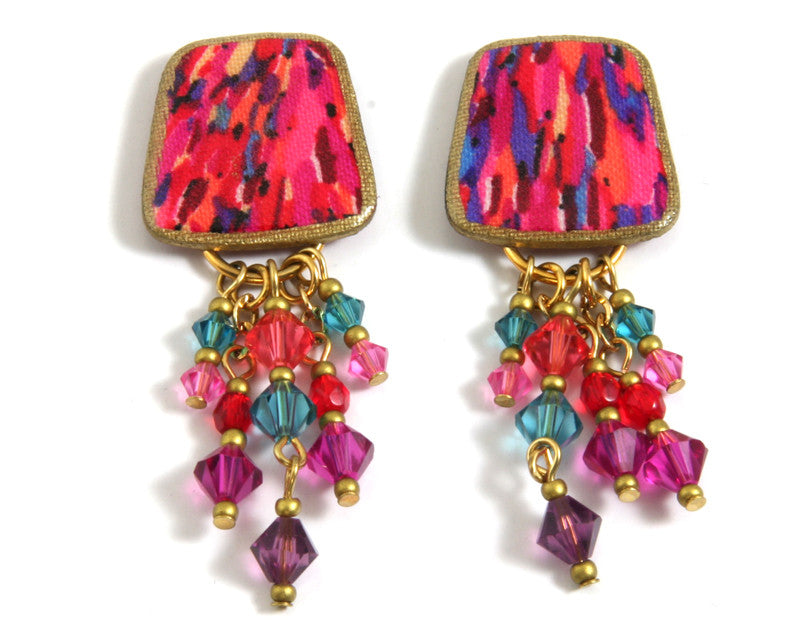 MAM' Gypsy Coral/Purple/Pink/Gold Earring