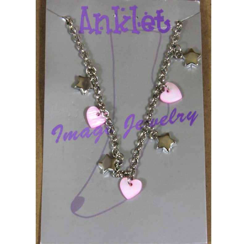 "Ankle Bracelet Stars & Pink Hearts 9"" to 11"" chain"
