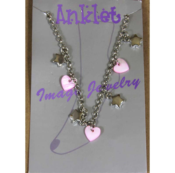 "Ankle Bracelet, Stars & Pink Hearts, 9"" to 11"" chain"