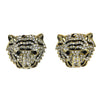 Tiger Face Earrings Goldtone