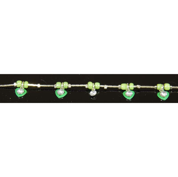 Ankle Bracelet, Green Hearts,  adjustable to 11""