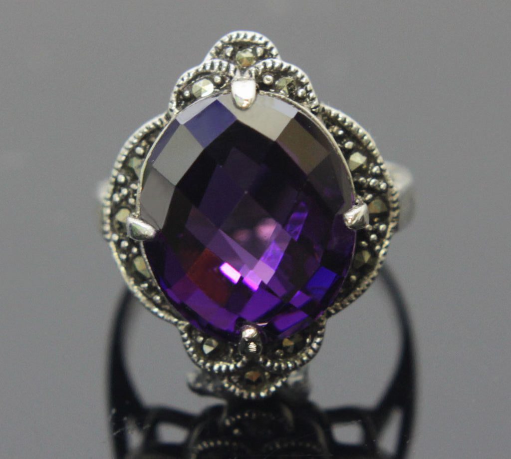 Sterling Silver Amethyst CZ Ring Size 7.5