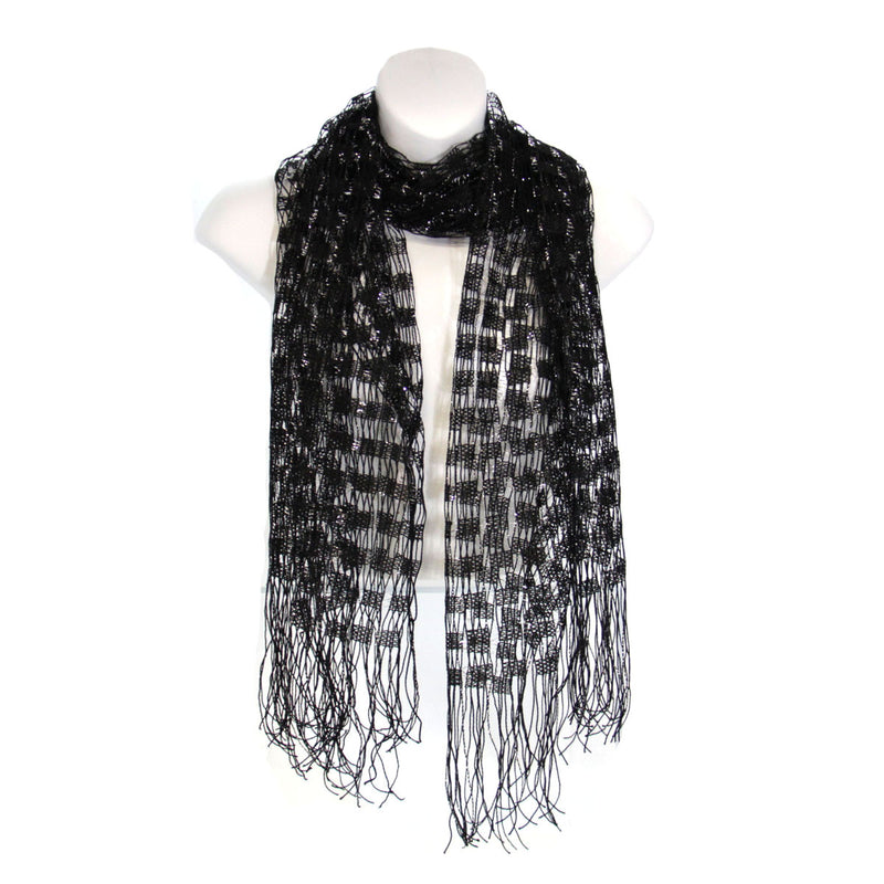 Infinity Scarf Shimmery Black & Silver