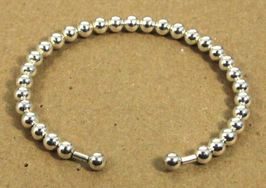 Sterling Silver Beaded Cuff 4mm