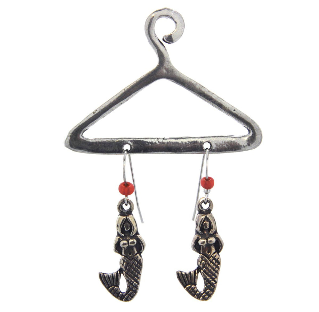 Mermaid Earrings w/hanger Orange Pewter