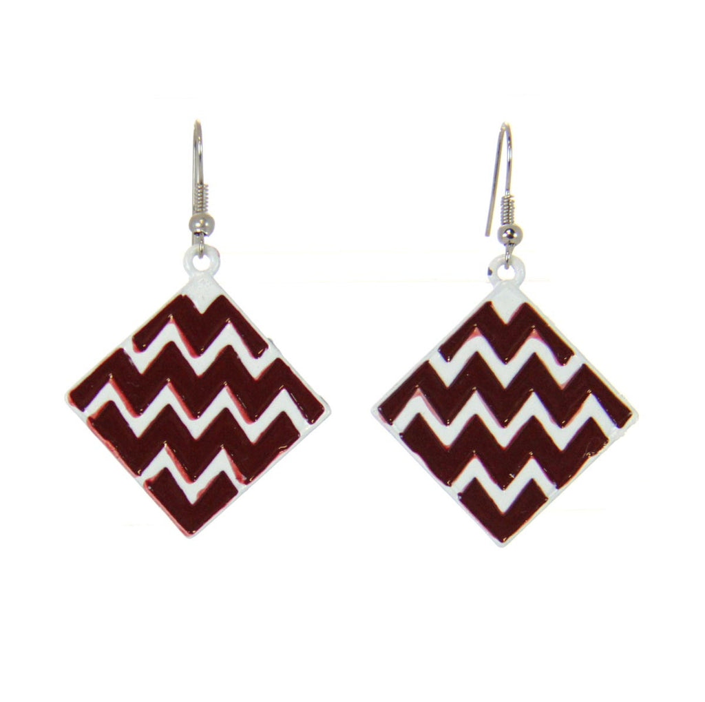 Chevron Square Earrings Crimson/White