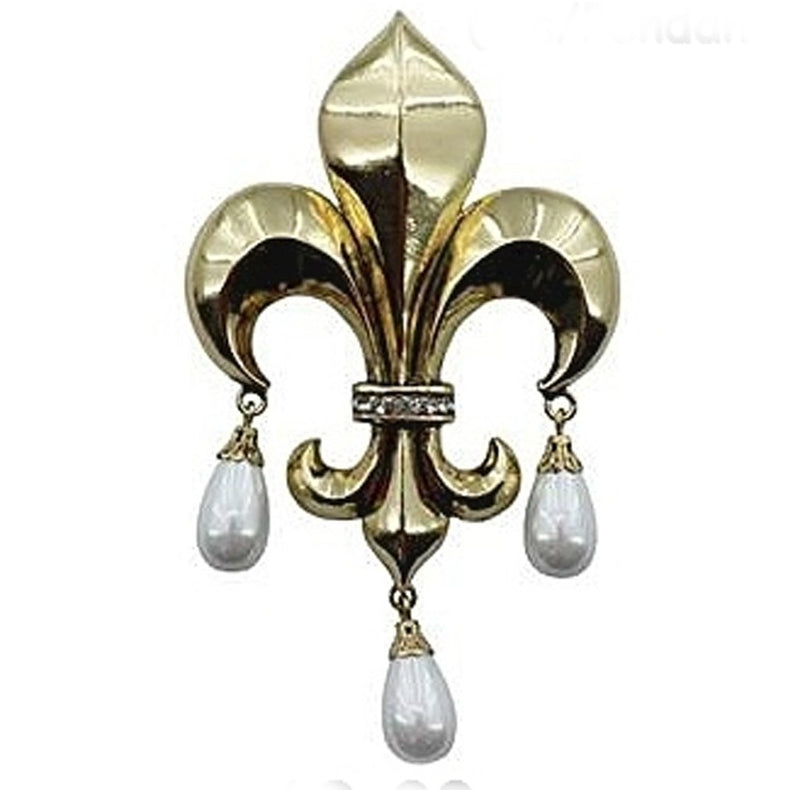 Gold Fleur De Lis with pearls pin