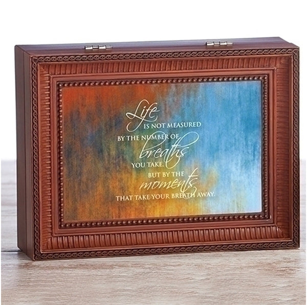 """Life is not Measured..."" Brown Large Music Jewelry Box"