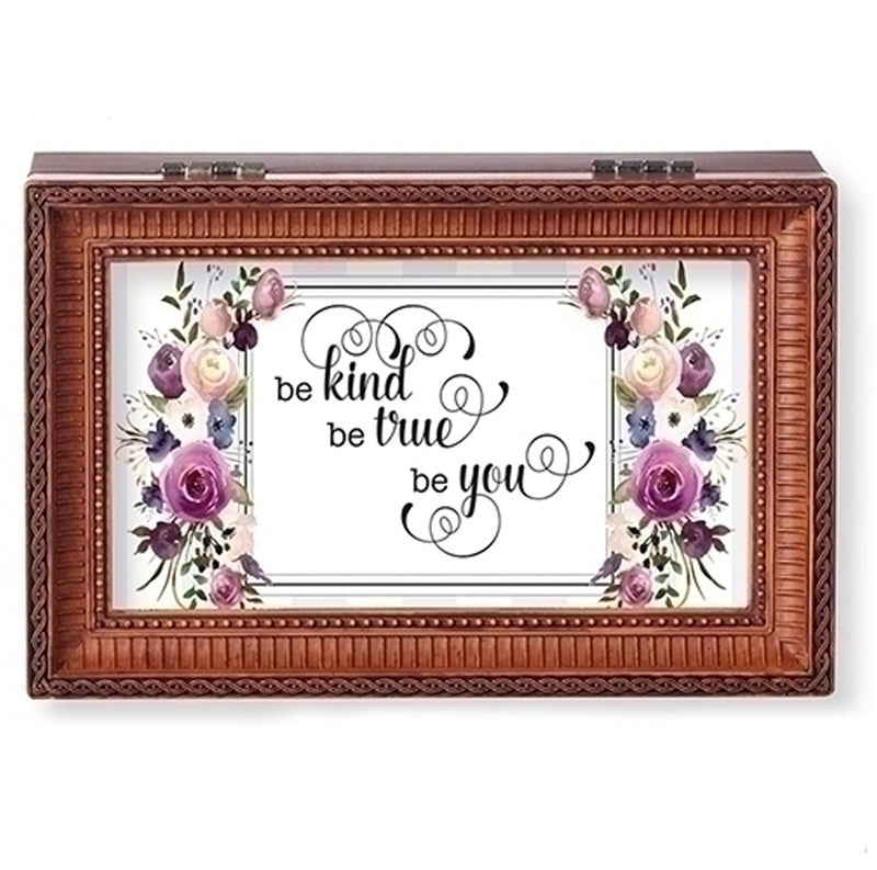 """...Be True Be You"" Brown Small Music Jewelry Box"