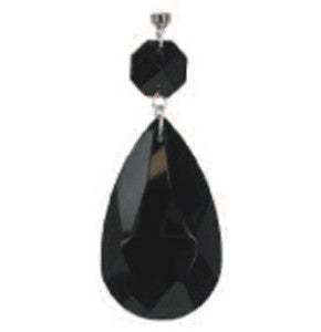 Light Charms - Black Faceted Almond