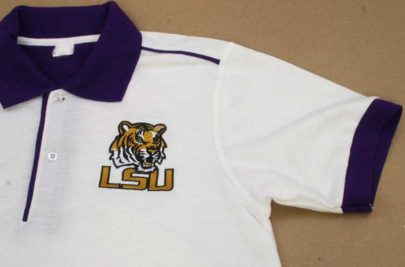 LSU White Polo Shirt Large