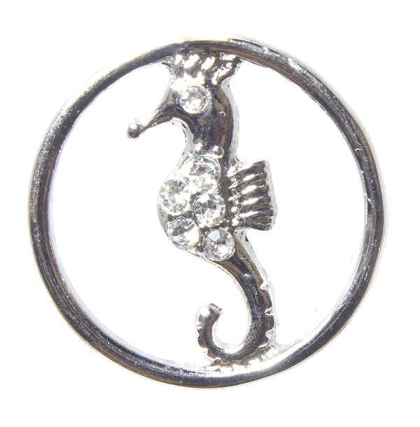 Floating Charm-Silver Circle w/Seahorse & Clear Crystals