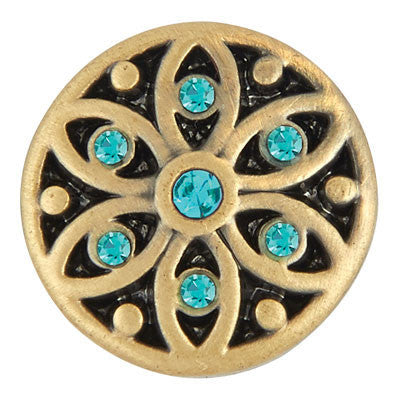 Petite Ginger Snaps Starlight Brass Snap - Blue Zircon
