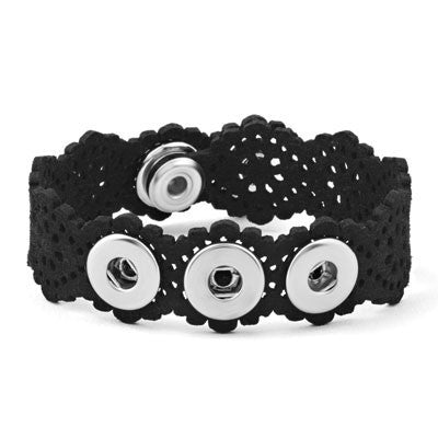 Petite Ginger Snaps 3 Snap Microsuede Lace Bracelet - Black