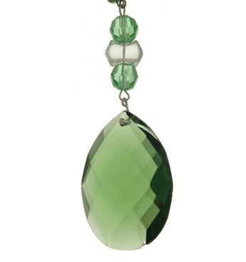 Light Charms - Green Faceted Almond