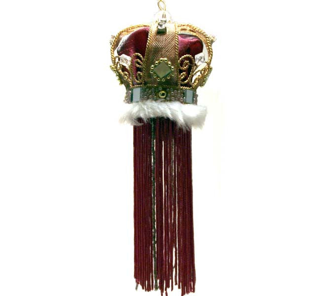 Crown with Tassel Maroon with Fur
