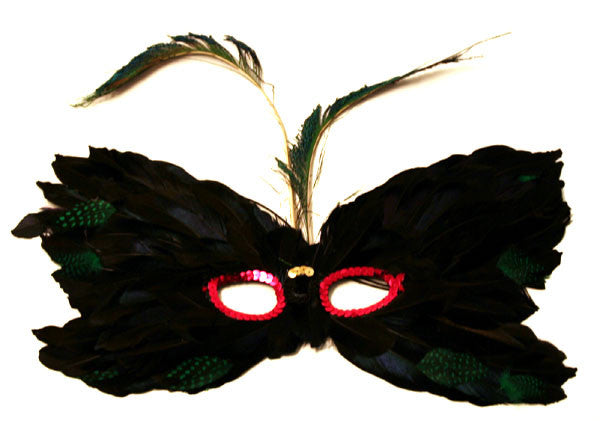 Feather Mask Black Red Eyes