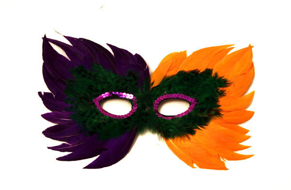 Feather Mask Purple, Gold, & Green