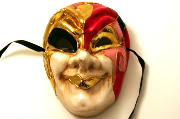 Court Jester Red Pink Black Mask