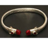 Sterling Silver Twisted Cable Bangle Jasper