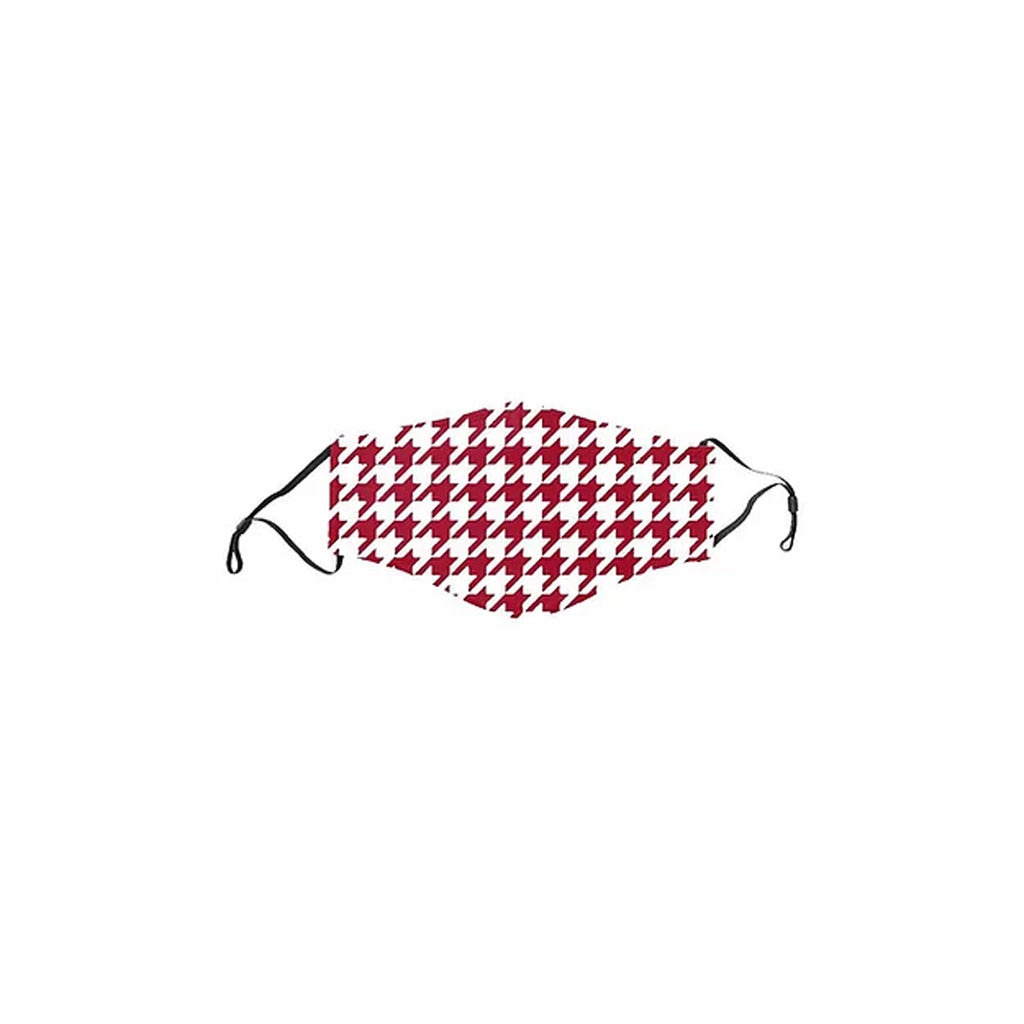 Adult Face Mask, Crimson  & White Houndstooth